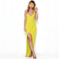 Yellow Sleeveless V-Neck with High Side Slit Maxi Dress