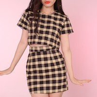 Glitters For Dinner — Black & Yellow Tartan Motel 2 piece Set
