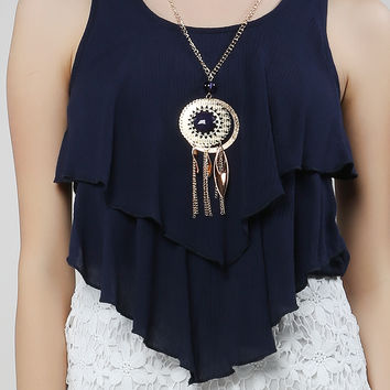 Necklaced Layering Tank Blouse