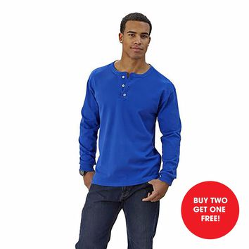Adult Long Sleeve Henley Brushed Jersey Classic Fit