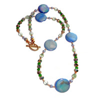 ON SALE Beaded Light Blue and Green Cloisonne and Mother of Pearl Necklace