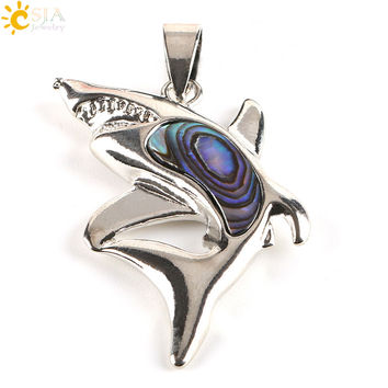 CSJA New Zealand Natural Paua Abalone Shell Beads Lovely Dolphin Animal Pendants for Necklaces Sea Charms Men Women Jewelry E356