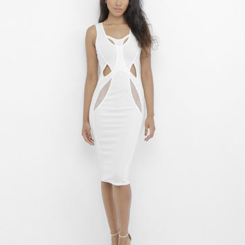 SUSANNA CUTOUT MIDI DRESS - WHITE
