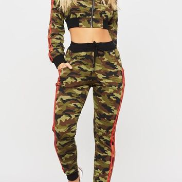 Green Camouflage Crop Pockets Drawstring Two Piece Long Sleeve Casual Long Jumpsuit
