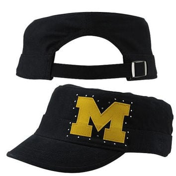 47 Brand Michigan Wolverines Ladies Facet Cadet Military Hat - Navy Blue