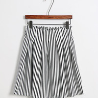 White and Black Striped Ruched Skirt