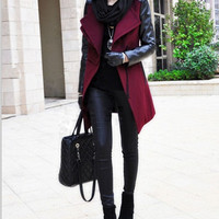 Women Red and Black  Wool coat Cashmere coat  by AngelCity2012