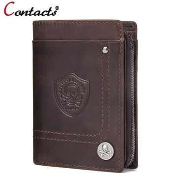 Skull Genuine Leather Men Wallets Credit Card Holder Coin Purse Small Travel Wallet Card Walet Organizer