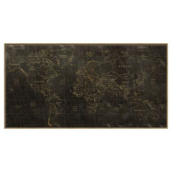 Embellished World Map Canvas - Black 24x46 : Target