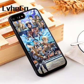 Cool Attack on Titan LvheCn 5 5S SE phone cover cases for iphone 6 6S 7 8 Plus X Xs Max XR Silicon Anime  Scout Regiment Eren Jaeger AT_90_11