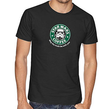 STAR DARTH VADER WAR INSPIRED FUNNY SLOGAN THUMBLR STARBUCKS T SHIRT TOP TEE - Black