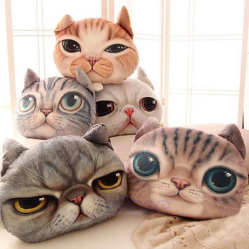 Hot Sale Stuffed Plush 3D Cute Cat Dog Face Throw Pillow Decor Cushion Toy Doll Grumpy Cat