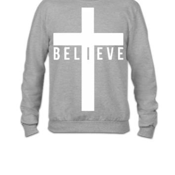 cross believe car decal sticker - Crewneck Sweatshirt