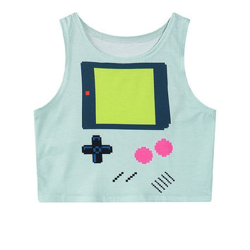 Games Sleeveless Mini Crop Top Slim Tank Top = 4824024964