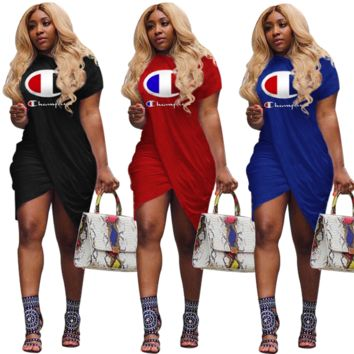 Champion Newest Women Casual Print Short Sleeve Knee-Length Dress