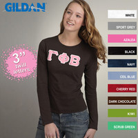SoftStyle Ladies' Long-Sleeve Sorority T-Shirt w/ Twill | Sorority clothing and apparel from SomethingGreek.com