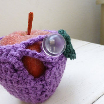 Apple cozy, crochet cozy, apple cozy purple, crochet apple cozy, teacher's gift, teacher's swag, back to school, ready to ship, hand crochet