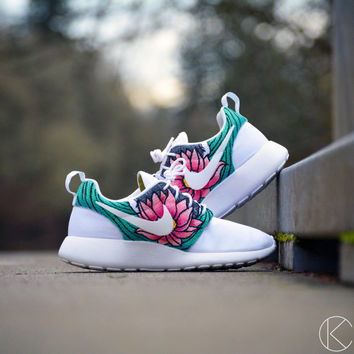 Custom womens size 6.5 koi fish and lotus flower hand painted roshes nike rosherun shoes