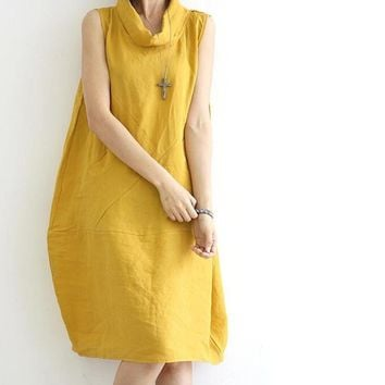 Clobee Yellow cotton Linen Sleeveless Loose Dress mori girl japanese 2017 kimono summer Pocket women Knee-length Vintage Dresses