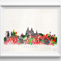 Cologne Skyline Print, Germany Wall Art, Cologne Cityscape, City Skyline, Watercolor Painting, Home Decor, Room Decor, Christmas Gift