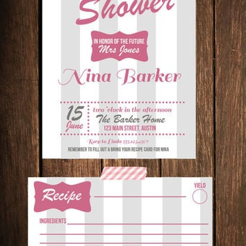 Sweet Bridal Shower Invitation With Recipe Card Personalized & Custom Made PDF