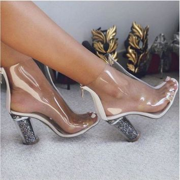 Sexy fashion transparent boots thick heels sandals shoes