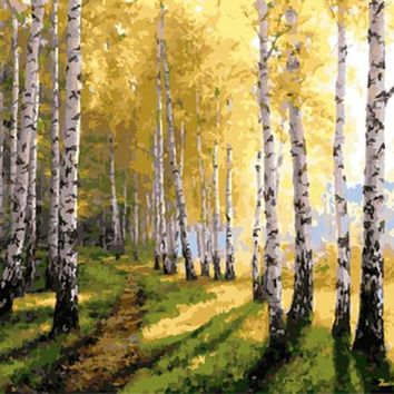 Frameless painting by numbers paint by number for home decor  PBN for living room 4050 birch