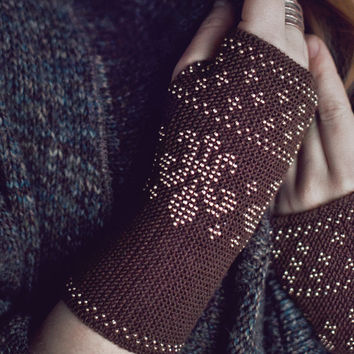Brown beaded wrist warmers / fingerless gloves - READY to ship
