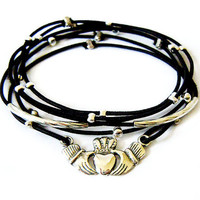 Claddagh Bracelet Set (Black and Silver)