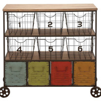 "35"" Tall Colorful Metal Storage Cart, Storage Baskets"