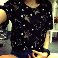 Harajuku hollow five-pointed star satellite network yarn stitching loose short-sleeved T-shirt from Harajuku fashion