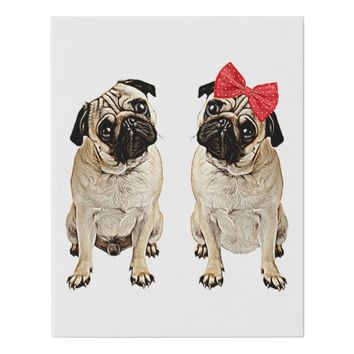 Male And Female Pug Dogs Original Art Faux Canvas Print