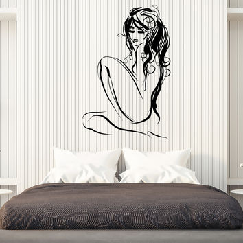 Wall Vinyl Decal Beautiful Nude Lady Beauty Home Decor Unique Gift z4580