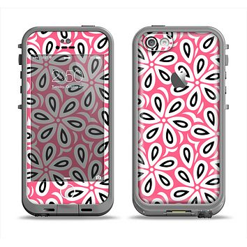 The Pink and Black Vector Floral Pattern Apple iPhone 5c LifeProof Fre Case Skin Set
