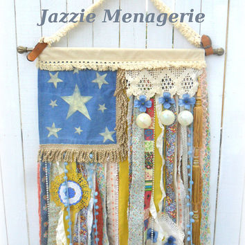 Hippie Scrap Flag, Boho Rag flag, Gypsy Wall Hanging, Fabric tapestry, Bohemian Room, Junk Gypsy Art, Denim and Doilies