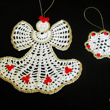 Crochet Christmas Angel and 1 snowflake, Hanging Christmas ornaments, White crochet angel,  Christmas tree decoration, Natale (Cod. 75)
