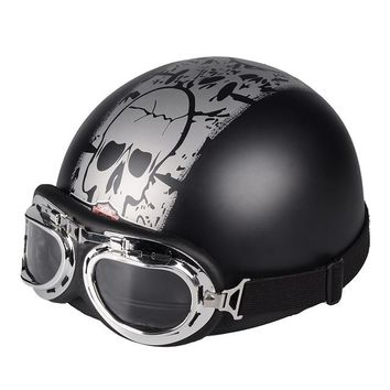 ABS Retro Motorcycle Open Face Helmet With Visor UV Goggles