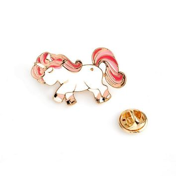 Trendy Cartoon animal cute horse unicorn metal brooch button pins denim jacket pin jewelry decoration badge for clothes lapel pins AT_94_13
