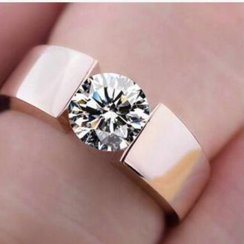 Women's wedding Ring Rosegold Lovers ring Silver copper CRYSTAL JEWEL Lady's ring of rose