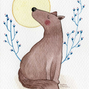Original Postcard watercolor - moon wolf