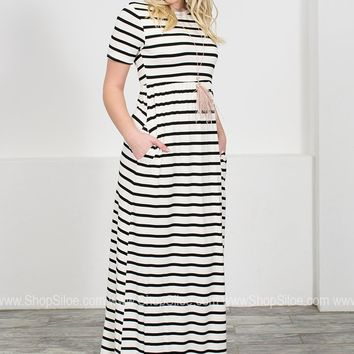 Ivory Striped Maxi Dress