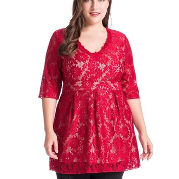 Chicwe Women's Full Lined Plus Size Floral Lace Tunic Top Blouse with V Neck 1X-4X