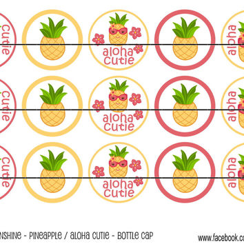 """M2MG Aloha Sunshine Pineapple Bottle Cap Images 1"""" Circles Cupcake Toppers Instant Download Digital Emailed 4x6"""