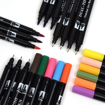2017 New Arrival Fineliner Pen 0.4MM Colored Art Marker Pens Hook Fiber Pen Material With Pencil Case Set For Gift CC