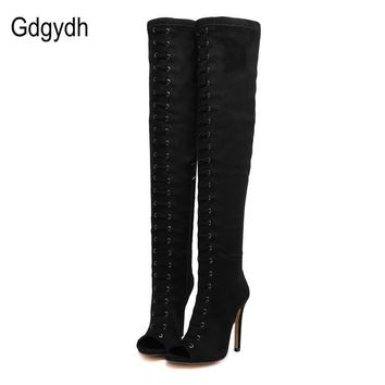 Gdgydh 2017 Spring Autumn Peep Toe Women Boots Black Fashion Thin Heels Over-the-knee