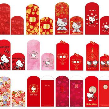 Chinese New Year Birthday Wedding Housewarming Red Envelope Hello Kitty Year Of The Rooster Hard Paper Red Packets