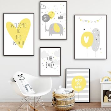 Elephant Balloon Cloud Quotes Nursery Nordic Posters And Prints Wall Art Canvas Painting Wall Pictures Baby Girl Boy Room Decor