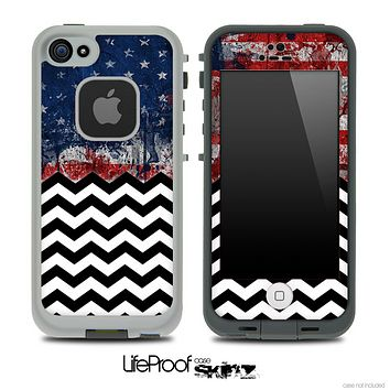 Mixed Grungy American Flag and Chevron Pattern Skin for the iPhone 5 or 4/4s LifeProof Case