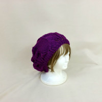 Purple Slouchy Beanie Lace Hat Baggy Knit Large Slouch