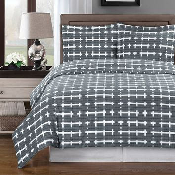 Norwich Gray Duvet Cover 100% Combed cotton